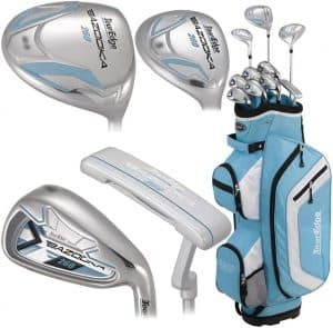 golf clubs and light blue case